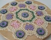 Butterflies Flowers pink purple doily Free Shipping