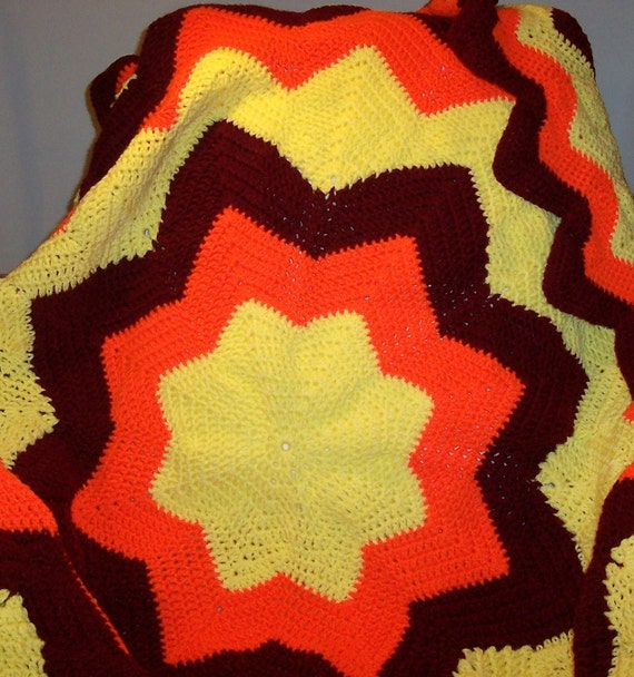 Crochet Afghan Aztec Sun yellow orange burgandy Free Shipping