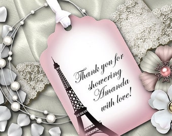 12 Favor Tags, Gift Tags, Wedding, Bridal, Baby Shower, Birthday, Anniversary, French Theme, Paris, Eiffel Tower, Pink Color Scheme