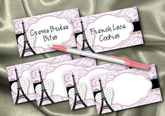 10 Flat Style Cards, Name Cards, Buffet Food Label Cards, Wedding, Bridal Shower, Baby Shower, Birthday, Paris, French, Eiffel Tower, Pink
