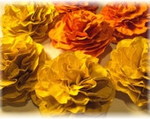 Orange and Yellow Marigolds Paper flowers embellishments for crafts, scrapbooking, cardmaking, ACEOs, collage, altered art. PAPER FLOWERS