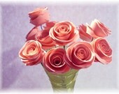 """Cotton Candy Pink Collection 1"""" Paper Roses with 12"""" wire stems. For crafts, altered art, bouquets, center pieces, & weddings PAPER FLOWERS"""