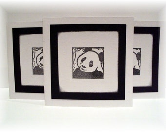 The ever so gentle Giant Panda Bear Triple Layered Mini Note CARDS with envelopes Set of 6