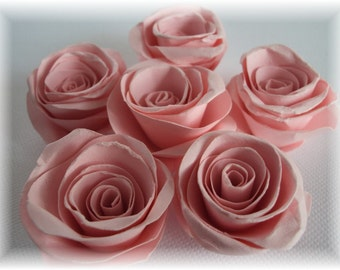 """True Pink 1"""" Paper Roses embellishments for crafts, scrapbooking, cardmaking, ACEOs, ATCs, collage, altered art. PAPER FLOWERS"""