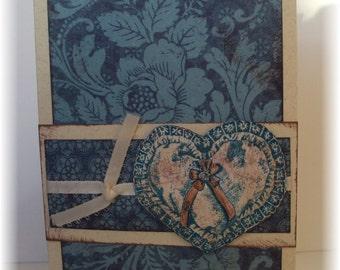Teal Heart Blank Greeting Card