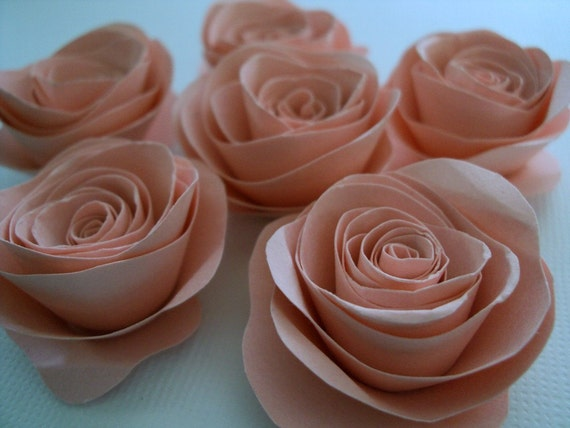 "Dusty Rose Pink 1"" Paper Roses embellishments for crafts, scrapbooking, cardmaking, ACEOs, ATCs, collage, altered art. PAPER FLOWERS"