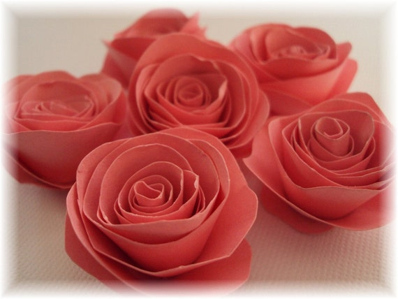 "Blush Pink 1"" Paper Roses embellishments for crafts, scrapbooking, cardmaking, ACEOs, ATCs, collage, altered art. PAPER FLOWERS"