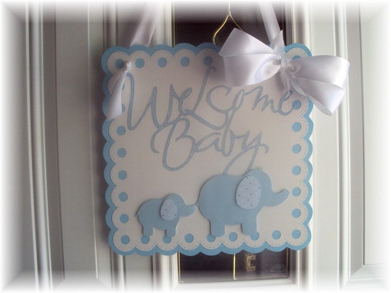 Welcome Baby Baby Blue Polka Dot Elephant Door Sign