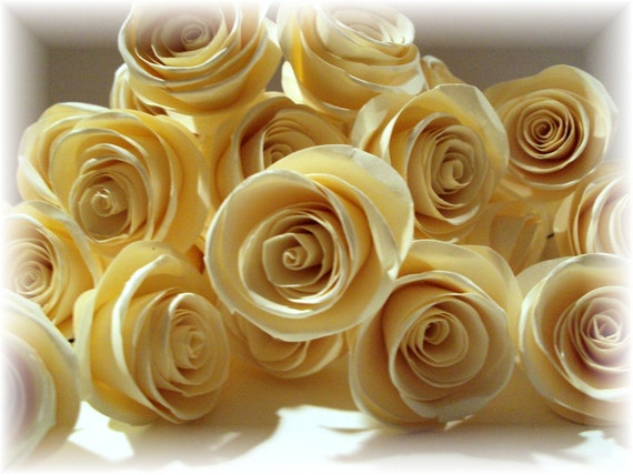 "Creme Brulee Collection 1"" Paper Roses with 12"" stems for crafts, altered art, bouquets, center pieces, and weddings PAPER FLOWERS"