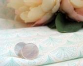ON SALE Vintage Mother of Pearl Stud Earrings - white