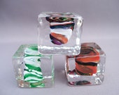 Hand Blown Glass Ice Cube Paperweights