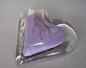 Hand Blown Art Glass Heart Paperweight