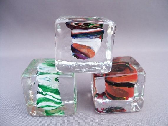 SALE - Hand Blown Glass Ice Cube Paperweight ( Set of Three)