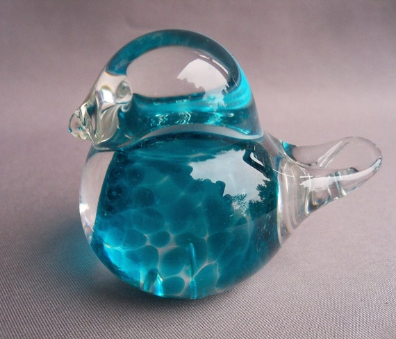 Hand Blown Art Glass Small Blue Bird