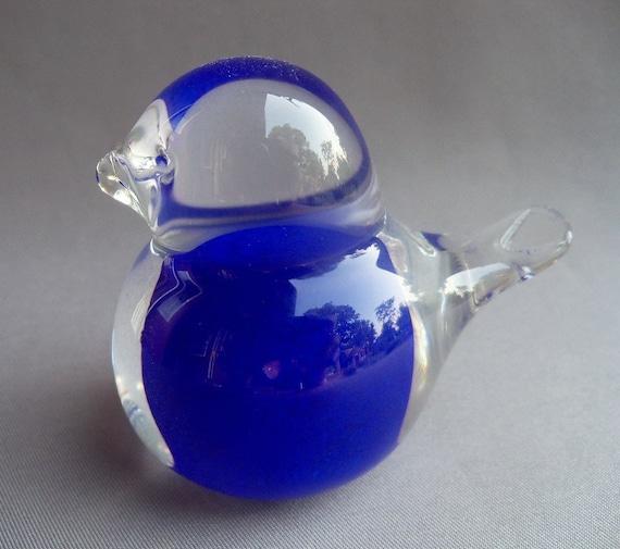 Hand Blown Art Glass Small Blue Bird of Happiness