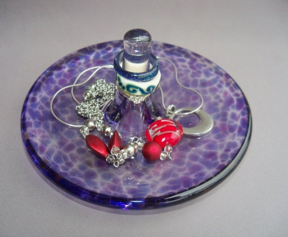 Hand Blown Art Glass Jewelry Dish and Holder