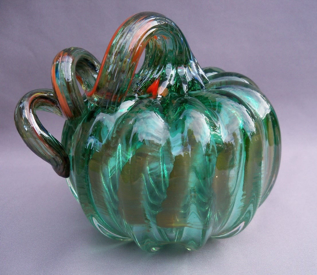 Hand Blown Art Glass Pumpkin by Route4glass on Etsy - photo#5
