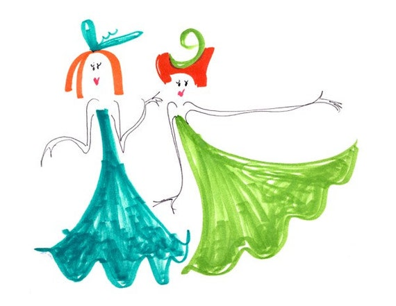 CRAZY LADIES -Printed Card -2 Redhead Fashionistas Friends Sisters Bridesmaids Dancers Twins in Green  Blue Swirly Dresses-Dance-Holiday