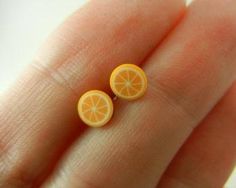SALE SALE SALE Orange polymer clay stud earrings