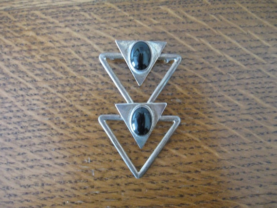 1950s Mexican Sterling Silver and Black Agate Arrows Pin-Pendant