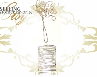 Silver Wire Wrapped Dog Tag Necklace, H8- 24