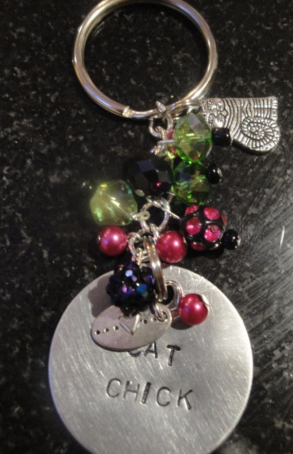 Cat Chick Beaded And Hand Stamped Key Chain