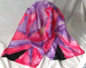 Silk Scarf, Crepe De Chine,Hand designed, Purple, Pink,Carmine Red,Women's,or Table Runner,All That Jazz