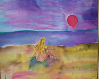 Art, Painting, Fine Art, Silk, Sun Lover ,Nude, 29x29inches, Fiber Art, Framed
