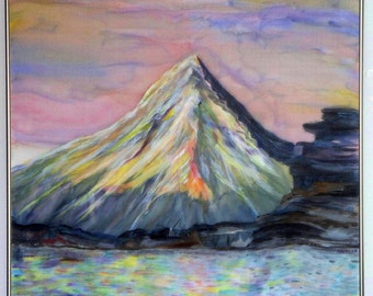 Art, Painting, Silk Art, Alaska Glacier, Mountain's Majesty, Silk, 29x28 inches, Framed