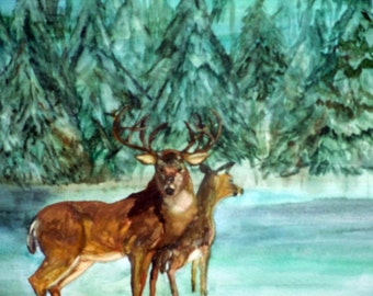 Art,Painting,Water Color, (Magic Snowfall),Professionally Framed,Wall Art,Deer,22x18inches