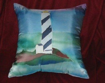 Home&Living, Home Decor, Decorative Pillow, Silk Pillow Cover, New England Lighthouse,  Hand Designed,ON SALE