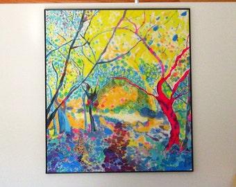 Art, Painting, Silk, (Secret Garden) , 40x45inches, Framed, Fiber Art, Free Shipping in USA