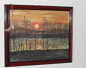 Art&Collectibles, Painting, Watercolor, (Shawnee River) 12x15 inches, Wall Art, Framed