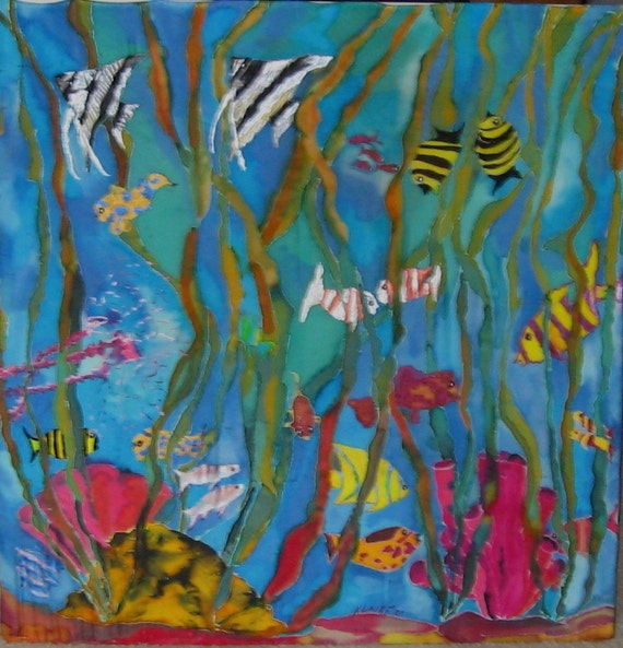 Original Painting, Fine Art, Silk Hanging ,Nemo's Friends An Underwater View ,29x29inches