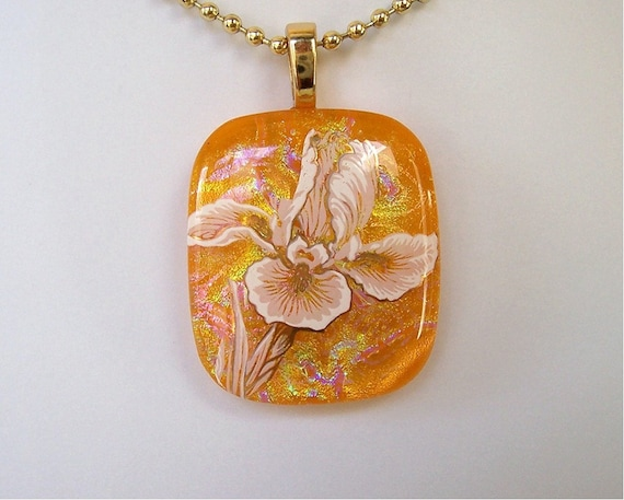 Gold and Yellow Floral Pendant - Dichroic Fused Glass Iris Flower Iridescent Statement Necklace Gift for Mom