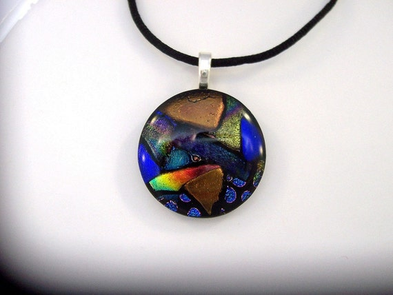 Circle of Color Fused Dichroic Glass Pendant