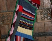 Harry and the Hippe Chic OOAK Recycled Sweater Patchwork Christmas Stocking