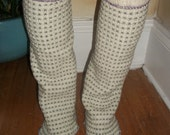 Harry and the Hippie Chic Upcycled Recycled Reconstructed Ooak Cream Leg Warmers