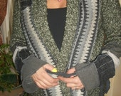 Harry and the Hippie Chic RECYCLED Upcycled OOAK Reconstructed Patchwork Double Wrap Tie Cardigan Sweater Med - XL