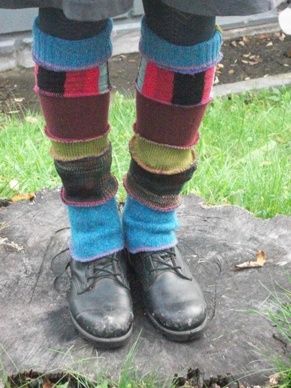 Harry and the Hippie Chic Upcycled Recycled Reconstructed Ooak  Blue Multi Patchwork Leg Warmers