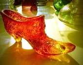 Vintage Fenton Amberina Glass Slipper Boot with Daisy and Button Design