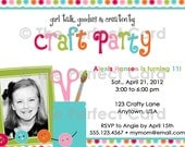 Girl Talk Craft Party Birthday Invitation