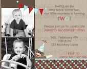 Sock Monkey 2 Boy Birthday Invitation
