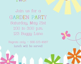 Garden Party Birthday Invitation Photo Card