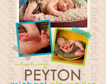 Modern Photo Collage Birth Announcement - BOY or GIRL