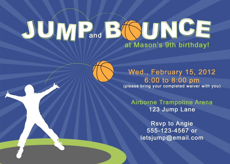 Jump Amp Bounce Birthday Party Invitation Printable