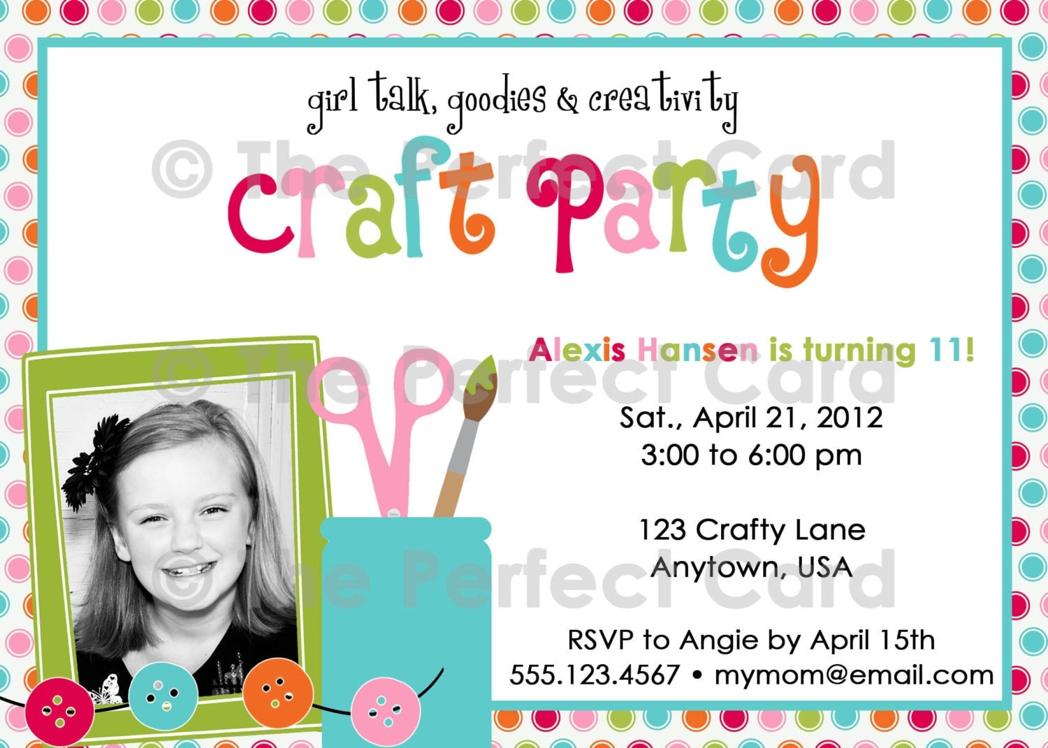 Girl talk craft party birthday invitation for Crafts for birthday parties