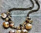 CopperSKY- Faceted Gold Copper Rutilated Quartz, Pyrite, Crystals, Romantic Statement Necklace