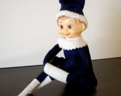 Vintage Christmas Knee Hugger Elf Ornament Very Rare Blue Outfit Pointed Feet