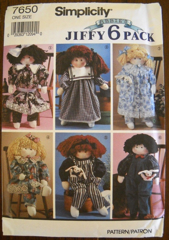 Simplicity 7650 Sewing Pattern Stuffed Doll and Clothing UNCUT
